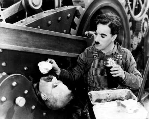 Les Temps modernes : Photo Charles Chaplin, Chester Conklin