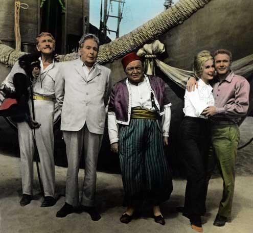 Cinq semaines en ballon : Photo Barbara Eden, Cedric Hardwicke, Irwin Allen, Peter Lorre, Red Buttons