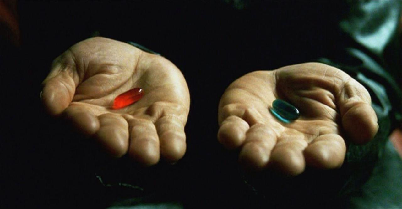 """Les pilules bleu et rouge dans """"Matrix"""""""