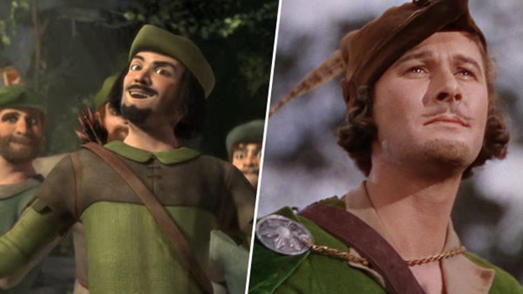 Robin des Bois (Shrek), inspiré par Errol Flynn (Les Aventures de Robin des Bois)