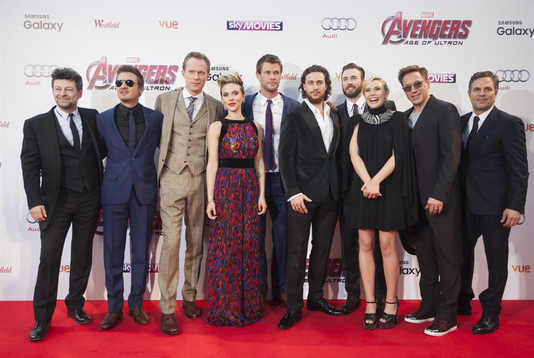 Avengers : L'ère d'Ultron : Photo Aaron Taylor-Johnson, Andy Serkis, Chris Evans, Chris Hemsworth, Elizabeth Olsen