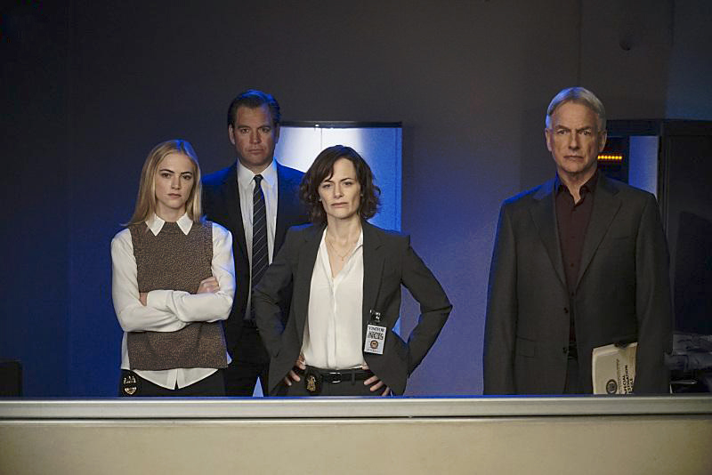 Photo Emily Wickersham, Mark Harmon, Michael Weatherly, Sarah Clarke