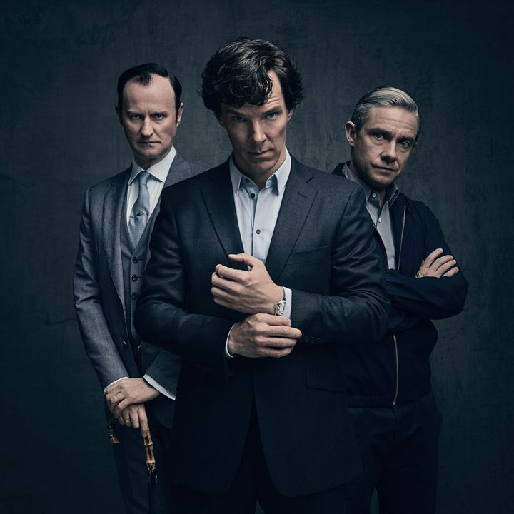 Photo Benedict Cumberbatch, Mark Gatiss, Martin Freeman