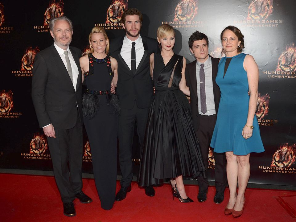 Hunger Games - L'embrasement : Photo promotionnelle Elizabeth Banks, Francis Lawrence, Jennifer Lawrence, Josh Hutcherson, Liam Hemsworth