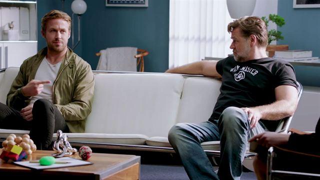 ryan gosling et russell crowe dans une dr le de th rapie de couple pour the nice guys actus. Black Bedroom Furniture Sets. Home Design Ideas