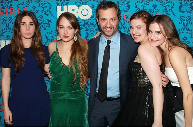 Girls : photo Allison Williams, Jemima Kirke, Judd Apatow, Lena Dunham, Zosia Mamet
