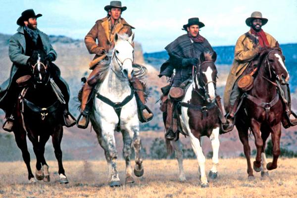 Silverado : Photo Danny Glover, Kevin Costner, Kevin Kline, Lawrence Kasdan, Scott Glenn